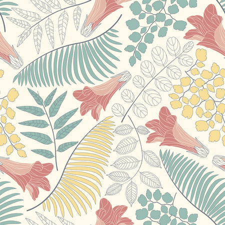pastel backgrounds: flowers and leaves on a white background in seamless pattern Illustration