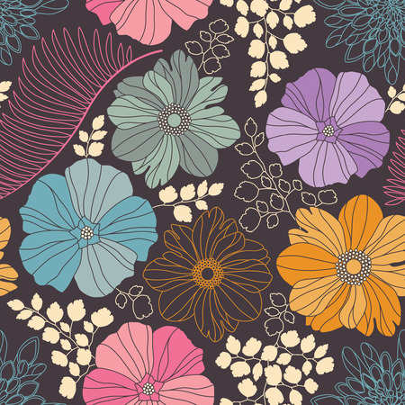 the season of romance: flowers and leaves on a dark background in seamless pattern
