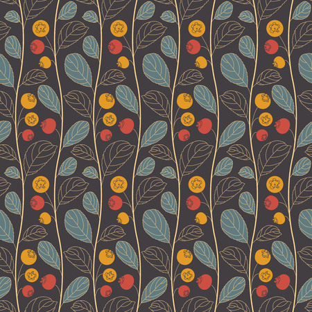 intricacy: blueberries on a dark background in seamless pattern Illustration