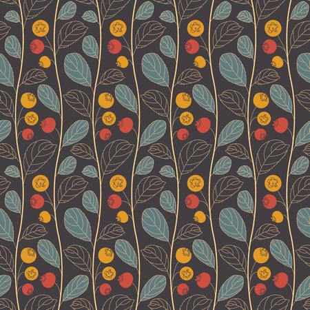 bilberry: blueberries on a dark background in seamless pattern Illustration