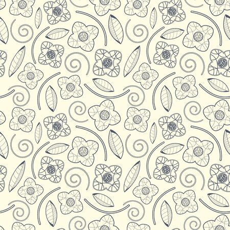 sepal: leaves and flowers on a white background in seamless pattern Illustration