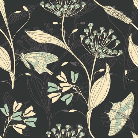 sepals: insects and flowers on a dark background in seamless pattern