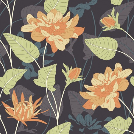 sepal: flowers and leaves on a dark background in seamless pattern