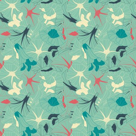 sepals: flowers on a blue background in seamless pattern Illustration