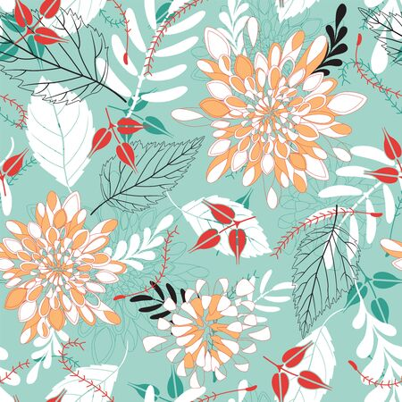 sepal: bright leaves and flowers in seamless pattern