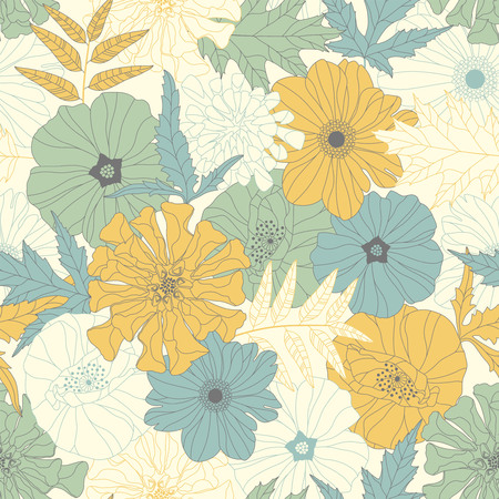 sentimental: flowers and leaves on a yellow background in seamless pattern