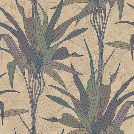 hojas antiguas: las hojas sobre un fondo de papel viejo en el modelo inconsútil