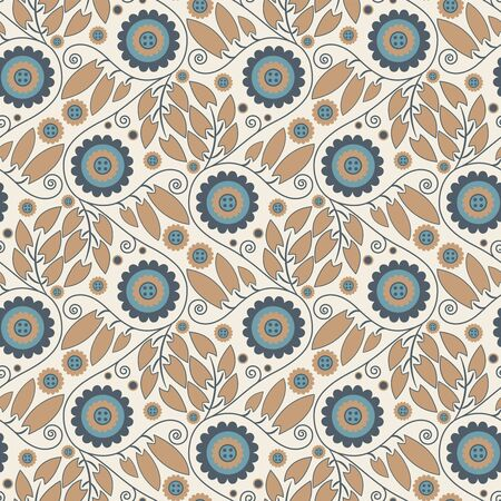 sepals: floral ornament on a beige background in seamless pattern