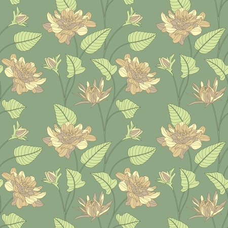 sepal: flowers and leaves on a green background in seamless pattern Illustration