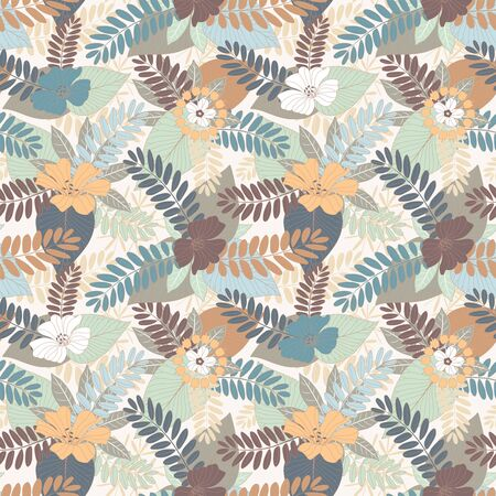 sepals: leaves and flowers on a white background in seamless pattern Illustration