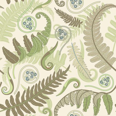 fern leaves on a yellow background in seamless pattern