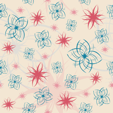 glad: abstract flowers on a beige background in seamless pattern