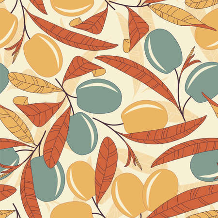 fruit stem: olives on a yellow background in seamless pattern Illustration