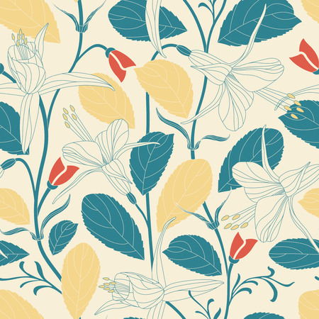 foliage: elegant flowers on a yellow background in seamless pattern Illustration