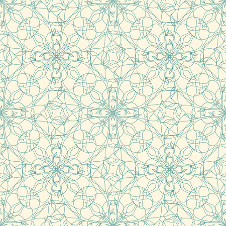 blue floral lattice on a yellow background in seamless pattern Illustration