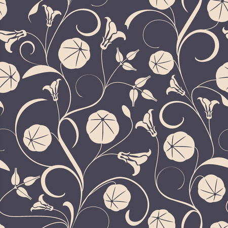botany: leaves and seeds on a black background in seamless pattern