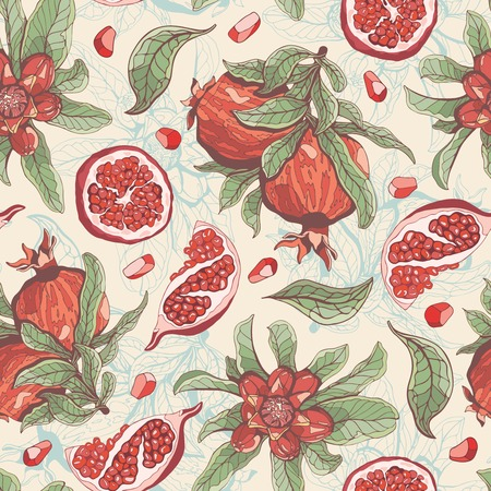pomegranates on a yellow background in seamless pattern Illustration