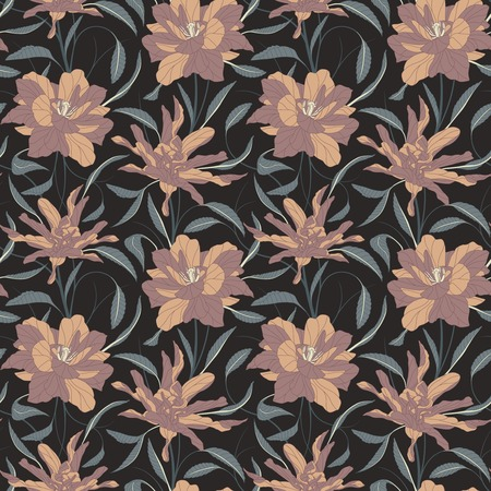 sepals: flowers on a dark background in seamless pattern