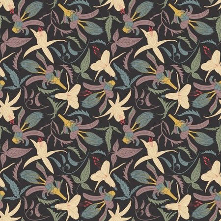 sepals: flowers and leaves on a dark background in seamless pattern