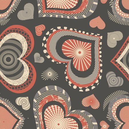 sparce: grunge hearts on a brown background in seamless pattern