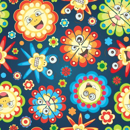 red happiness: bright fun flowers on a dark blue background in seamless pattern