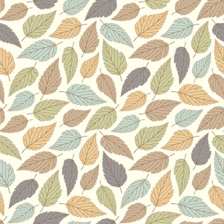 beige background: leaves on a white background in seamless pattern