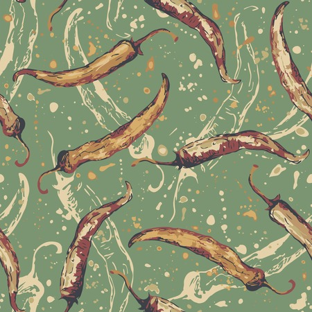 chilies: chili peppers on a green background in seamless pattern