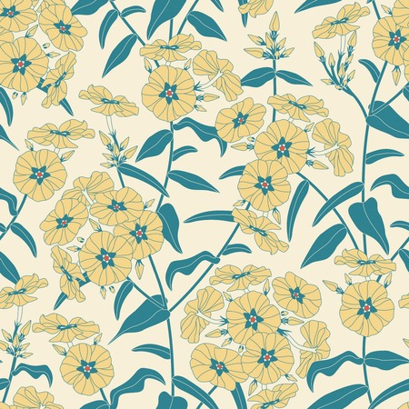 sepal: phloxes on a yellow background in seamless pattern