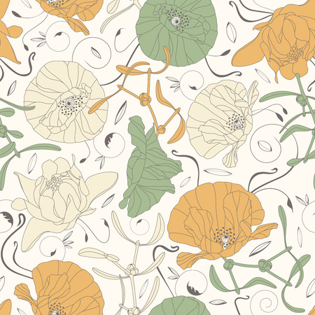 sentimental: elegant flowers and leaves on a white background in seamless pattern
