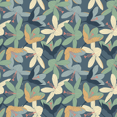intricacy: crocuses on a blue background in seamless pattern Illustration