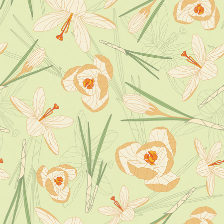 crocuses on a green background in seamless pattern