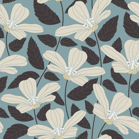 sepals: retro flowers on a blue background in seamless pattern Illustration