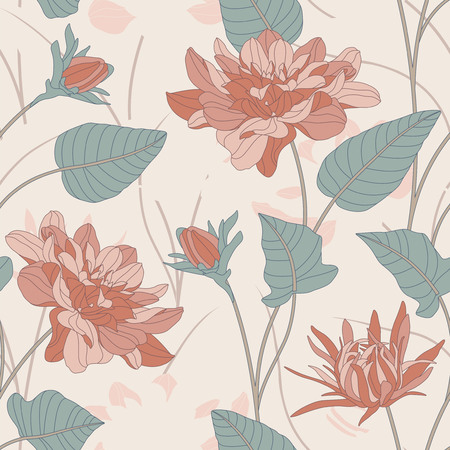 sepals: flowers and leaves on a white background in seamless pattern Illustration