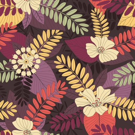 sepals: leaves and flowers on a dark background in seamless pattern Illustration