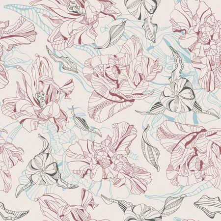 sepal: tulips on a yellow background in seamless pattern