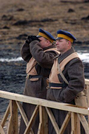 Historical military reenacting. Civil War in Russia. 1918. Reenacting battle near village Kruti in 1918. Stock Photo - 2576456