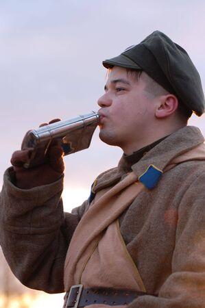 Historical military reenacting. Civil War in Russia. 1918. Reenacting battle near village Kruti in 1918. photo