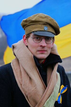 Student soldier.Reenactment russian Civil War 1918 photo