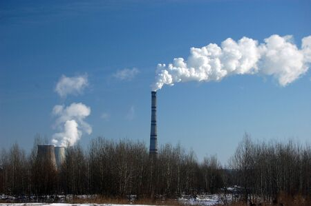 Air pollution.Power plant Stock Photo - 2546507