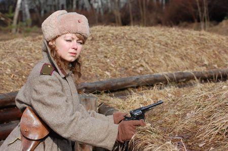 Girl soldier WWII,Soviet. Reenacting photo