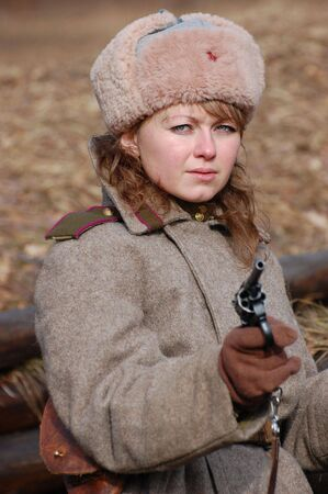 Girl soldier WWII,Soviet. Reenacting photo