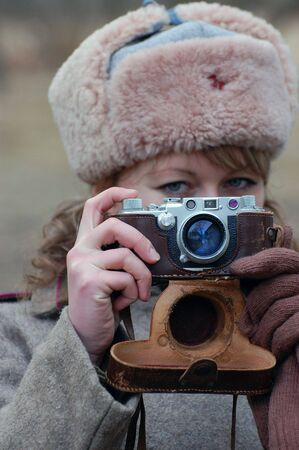 Girl soldier WWII,Soviet. Reenacting Stock Photo - 2591194