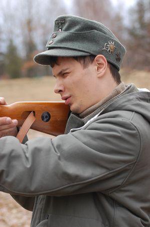 wwii: German WWII soldier. Reenacting