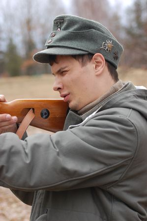 German WWII soldier. Reenacting Stock Photo - 2593185