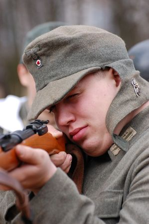 German WWII soldier. Reenacting photo
