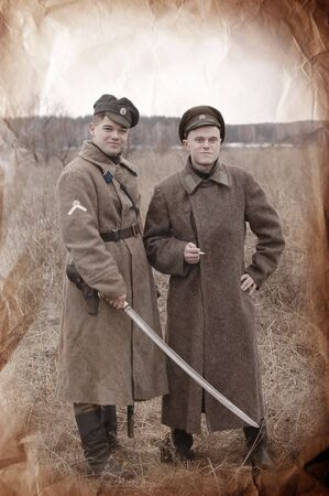 Retro stile. Military history photo