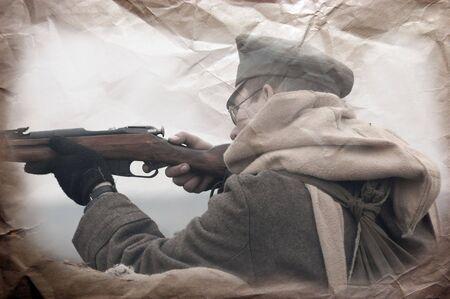 Retro stile. Military history photo