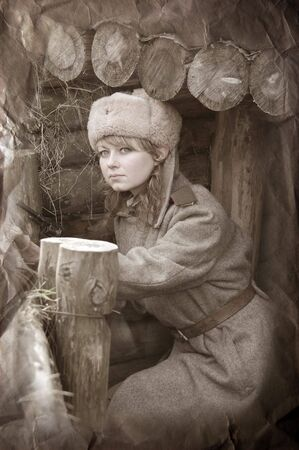 soviet: Girl of war.WWII reenacting
