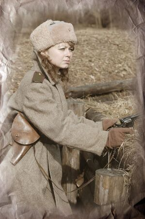 Girl of war.WWII reenacting photo