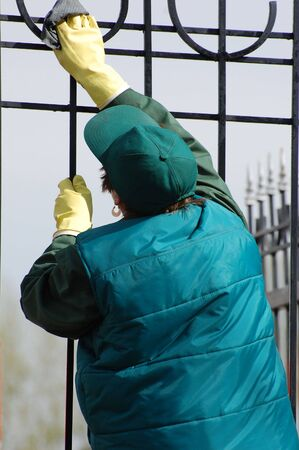 Fence cleaning 写真素材